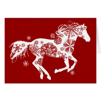 Snowflake Horse Holiday Christmas Greeting Card