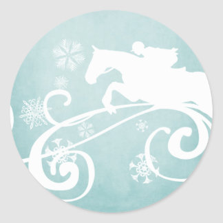 Snowflake Horse Holiday Christmas Round Stickers