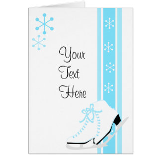 Snowflake Ice Skates Greeting Cards