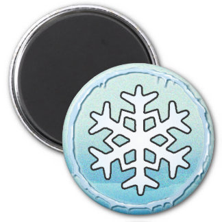 SNOWFLAKE & ICICLES by SHARON SHARPE 6 Cm Round Magnet