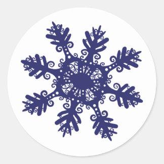 Snowflake II Round Stickers