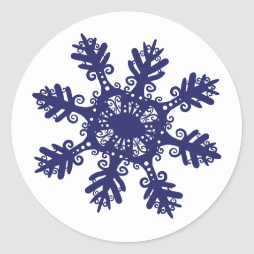Snowflake II Round Stickers