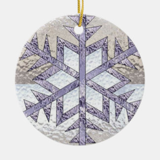 Snowflake in Stained Glass Christmas Ornament