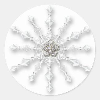 Snowflake Jewel Round Sticker