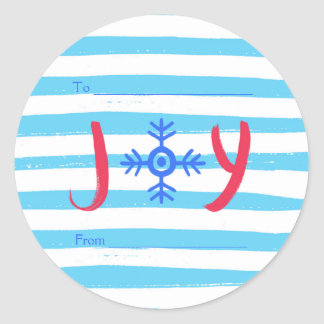 Snowflake Joy | Christmas Holiday Round Stickers