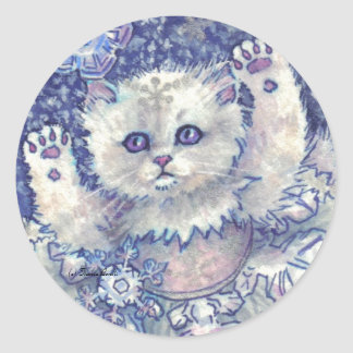 Snowflake Kitten Stickers