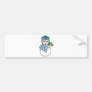 snowflake like home snowman bumper sticker