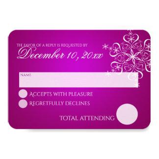 Snowflake Love Magenta Response Card 9 Cm X 13 Cm Invitation Card