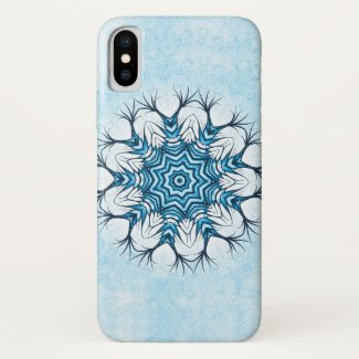 Snowflake Mandala In Blue Winter Abstract Art Case-Mate iPhone Case