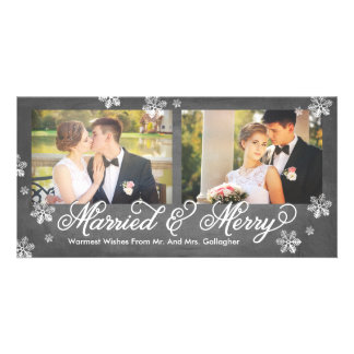 Snowflake Married and Merry 2-Photo Holiday Card Customised Photo Card