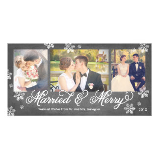 Snowflake Married and Merry 3-Photo Holiday Card Photo Card
