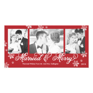 Snowflake Married and Merry 3-Photo Holiday Card Photo Cards