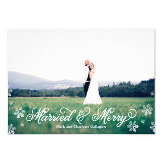 Snowflake Married and Merry Full Bleed Holiday 13 Cm X 18 Cm Invitation Card