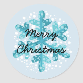 Snowflake Merry Christmas Sticker Style 1