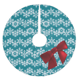 Snowflake Monogram Big Red Bow, Teal Chevrons Brushed Polyester Tree Skirt