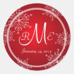 Snowflake Monogram Wedding Round Stickers
