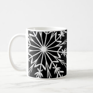 Snowflake on Black Happy Holidays Coffee Mug