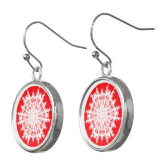 Snowflake on Christmas Red Earrings