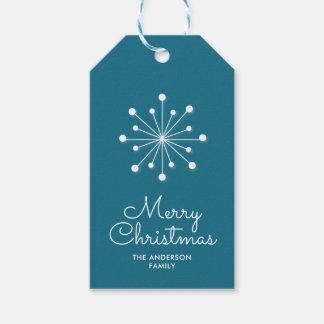 Snowflake on Dark Teal Merry Christmas Gift Tags