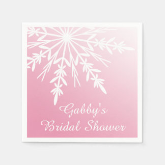 Snowflake on Pink Winter Bridal Shower Standard Cocktail Napkin