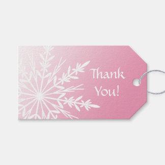 Snowflake on Pink Winter Wedding Favor Tags