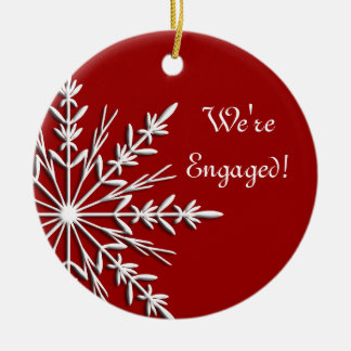 Snowflake on Red Engagement Ornament