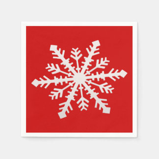 Snowflake on Red Paper Napkin