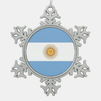 Snowflake Ornament with Argentina Flag