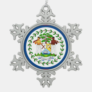 Snowflake Ornament with Belize Flag