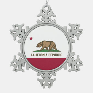 Snowflake Ornament with California Flag