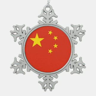 Snowflake Ornament with China Flag