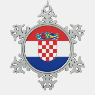 Snowflake Ornament with Croatia Flag