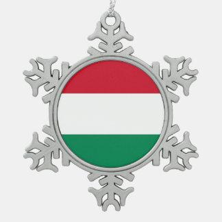 Snowflake Ornament with Hungary Flag