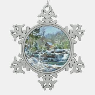 Snowflake ornament with image of Glade Creek Mill