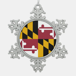 Snowflake Ornament with Maryland Flag