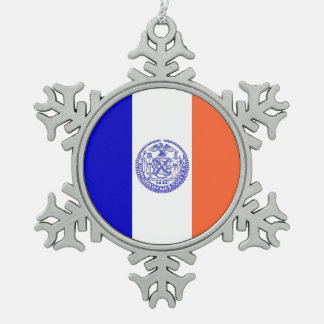Snowflake Ornament with New York Flag