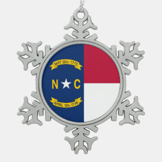 Snowflake Ornament with North Carolina Flag