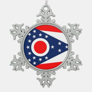Snowflake Ornament with Ohio Flag
