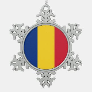 Snowflake Ornament with Romania Flag