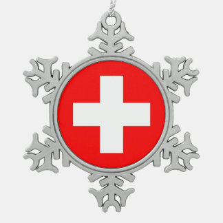 Snowflake Ornament with Switzerland Flag