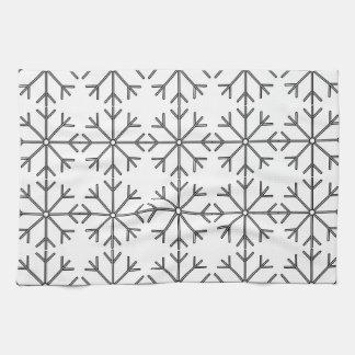 Snowflake  pattern - black and white. tea towel