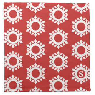 Snowflake Pattern Monogram Red Cloth Napkins