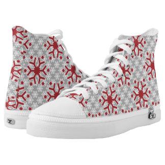 Snowflake pattern red grey modern winter printed shoes