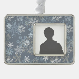 Snowflake Pattern Silver Plated Framed Ornament