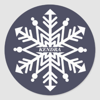 Snowflake Personalized With Your Name Round Sticker
