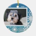 Snowflake Photo Frame For Christmas Round Ceramic Decoration