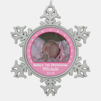 Snowflake Pink Photo Ornament
