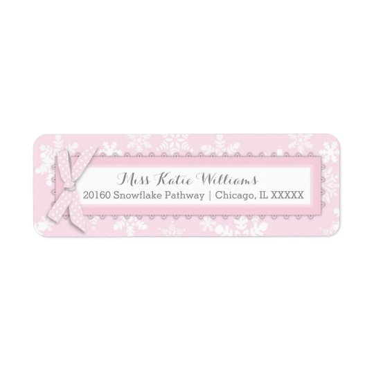 Snowflake Pink Polka-dot Bow Baby Girl Label