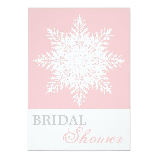 Snowflake pink, white winter wedding bridal shower card