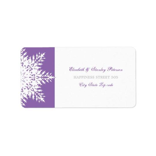 Snowflake purple white winter wedding label address label